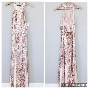 NWT David's Bridal Blush Rosegold Sequin Gown